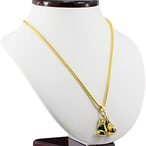 MESE London Boxhandschuh-Halskette 18K Gold Uberzogene Ketten Männer Anhänger - Elegante Geschenkbox Abbildung 3