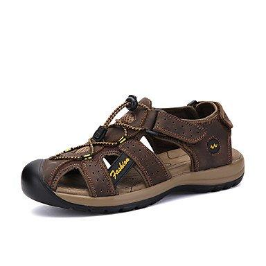Sandales en cuir Nappa Confort Piscine extérieure d'eau de sport Magic chaussures talon plat bande jaune brun Télévision Brown