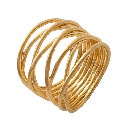 Pernille Corydon Wickelring Damen Gold - Paris Serie Ring Draht Filigran 925 Silber Vergoldet Größe 55 - R569g