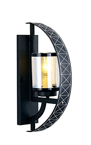 Applique murale moderne et sophistiquée avec insert en cuir pour salon ou chambre 1 flamme, Ø11cm E27, matière: métal, cuir / verre couleur: cuir noir / brandy