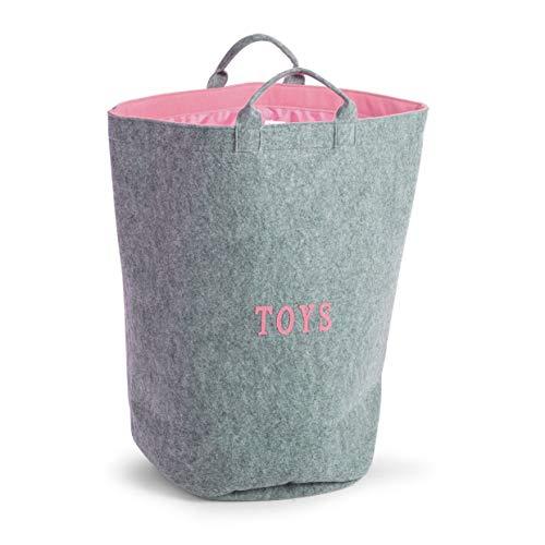 *CHILDHOME Spielzeug Tasche Filz Grau Rosa 60x40x40cm Wäschekorb CCFTBRSP*