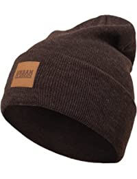 Urban Classics Unisex Strickmütze Leatherpatch Long Beanie, One Size (Herstellergröße: one size)