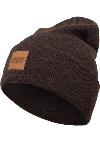 Urban Classics TB626 Unisex Strickmütze Leatherpatch Long Beanie Heatherbrown, One size (Herstellergröße: one size)