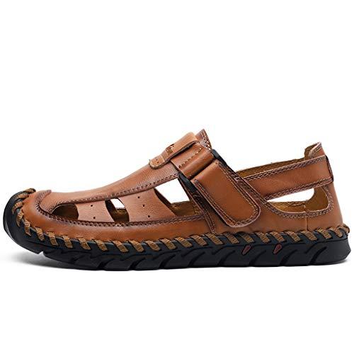 Aoogo Strandschuhe Sommer Herren Casual Ledersandalen Breathable Tide Outdoor Sandalen Bequeme Pumps Outdoorschuhe Mode Leichtgewicht Flach Sandalen -