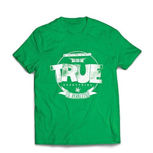 Maglietta da Uomo Niente è Vero, Tutto è permesso - Hipster Swag, Moda di Strada, Citazioni di Marijuana sul Fumo (XX-Large Verde
