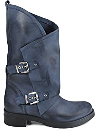 In Time Stivali Biker Boots con Fibbie Donna 0313 Blu in Vera Pelle Made in  Italy e275809141d