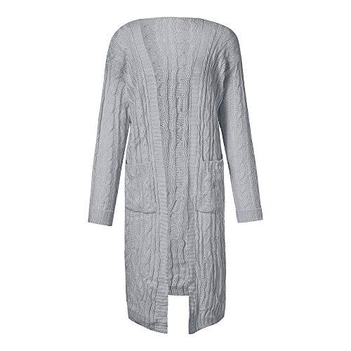 TWBB Damen Winter Einfarbig Strickjacke Mantel Trenchcoat Lange Strickpullover Pullover Warm Lange Ärmel Bluse