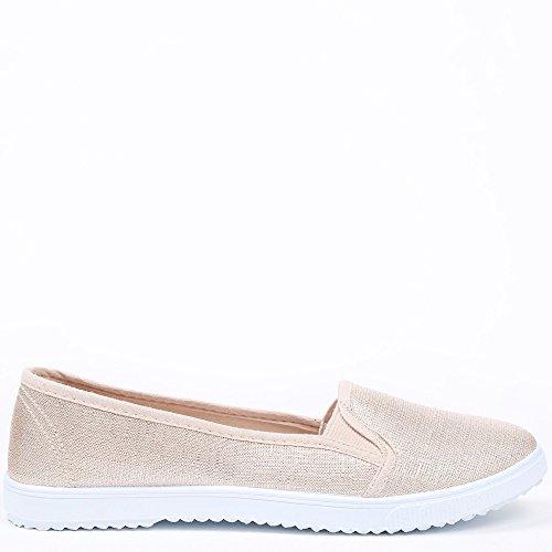Ideal Shoes Sneakers slip-on glitzernd Dariane Beige
