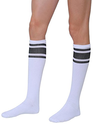 RZ World Sports Socks Football Stocking Dry Fast Trainer Unisex Knee High Striped Sports Football/Soccer/Hockey Rugby Tube Socks for Men, Women, Boys & Girls(1 Pair)