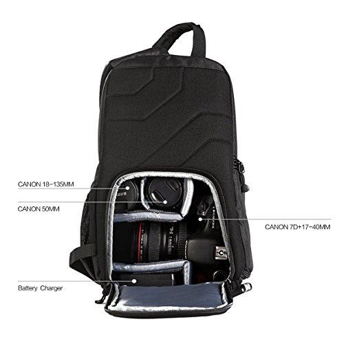 Imagen de k&f concept   bandolera para cámara réflex dslr y accesorios sin espejo de canon nikon sony pentax, bolsa para cámara dslr resistente y impermeable con protector de lluvia desmontable, cámara  23cm*14cm*37cm  alternativa