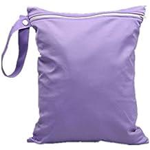 TOOGOO(R)bolsillo con cremallera impermeable pano del bebe reutilizable lavable bolsa de panales purpura