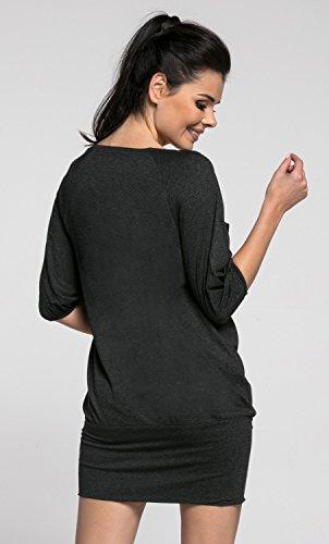 Zeta Ville -Damen Schwangere Minikleid Still-Tunika Elastisch Manschetten - 204c Graphit Melange