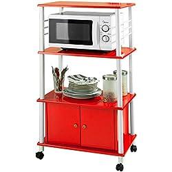 SoBuy® Carrito de cocina, estante de cocina, estante con ruedas, estantería de cocina, FRG12-R,ES