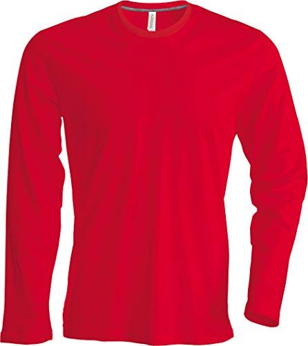 Herren T-Shirt langarm von notrash2003 (XL, Rot) (Fit Slim Rot T-shirt)
