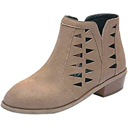 Zapatos ZODOF Botas Planos Alto Top de Medieval Style para Mujer Tacones Gruesos de la Vendimia de Las Mujeres Tacón Grueso Botines Cortos Botines Huecos