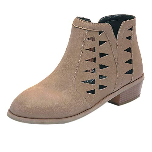 6c9553c3b769 OYSOHE Damen Vintage Hohl Stiefel Reißverschluss Starke Ferse Kurze  Booties(Khaki,36 EU