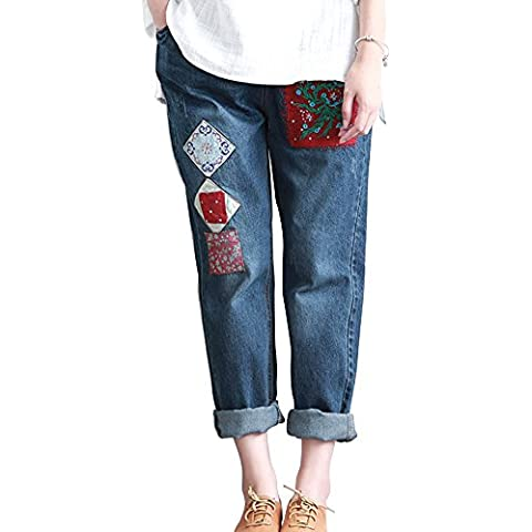 SaiDeng Donna Ricamo Roll-Up Sciolto Casual Coulisse Distressed Washed Jeans
