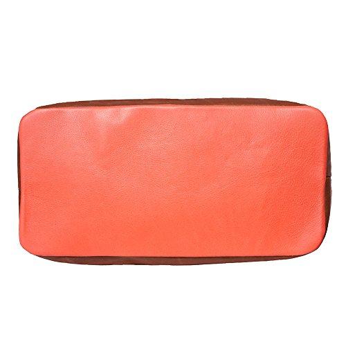 Sac à main porté épaule avec double lanière en cuir 6140 Saumon-marron