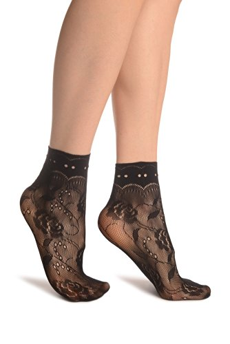 Black Roses Lace With Comfort Top Ankle High Socks - Schwarz Socken Einheitsgroesse (37-42)