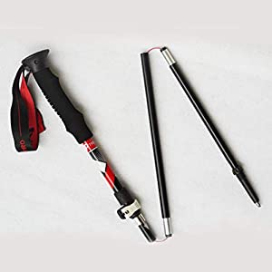 Moliies Multifunktions-Aluminiumlegierungs-Trekking-Stöcke, die justierbaren Ultralight Spazierstock für wanderndes wanderndes Snowshoeing Falten