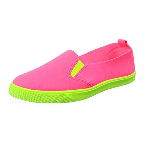 Damen Schuhe, 542-Y, HALBSCHUHE SLIPPER FREIZEITSCHUHE Pink