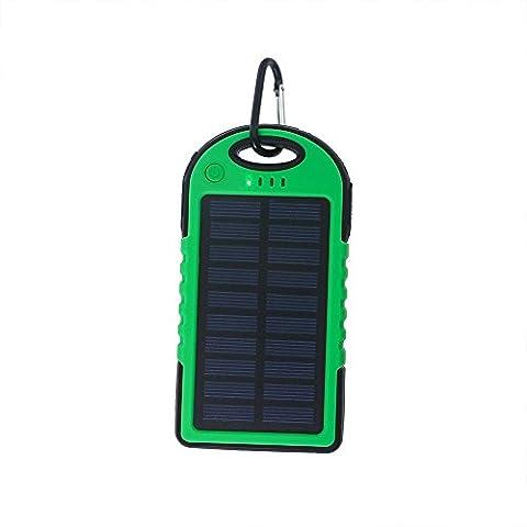 Lugii Cube banque de puissance de batterie externe avec LED Lumière solaire universel Power Bank 5000mAh Haute Capacité chargeur solaire double USB Portable, vert
