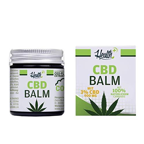 HEALTH+ CBD BALM mit 3% CBD - 30 ml, Hanf-Salbe mit kaltgepresstem Cannabissamenöl, hochwertiges und rein natürliches Hautpflege-Balsam