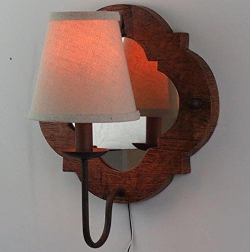 FWEF panno accedere in legno scandinavo in legno parete scultura Retro Living camera illuminazione ristorante nostalgico ferro antico specchio decorativo illuminazione 41 * 41cm