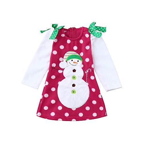 Prinzessin Kleid,Transwen Weihnachten Kinder Baby Mädchen mit Langen Ärmeln Cartoon Schneemann...