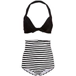 Hawaï 0199795Mujer Retro Pinup Vintage Bikini con Alta Cintura y Parte Superior Negra (Juego de 2Piezas) Negro XX-Large