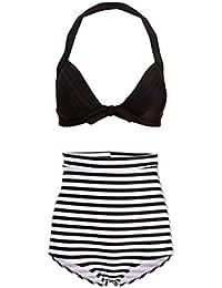 Hawaï 0199795Mujer Retro Pinup Vintage Bikini con alta cintura y parte superior negra (Juego de 2piezas)