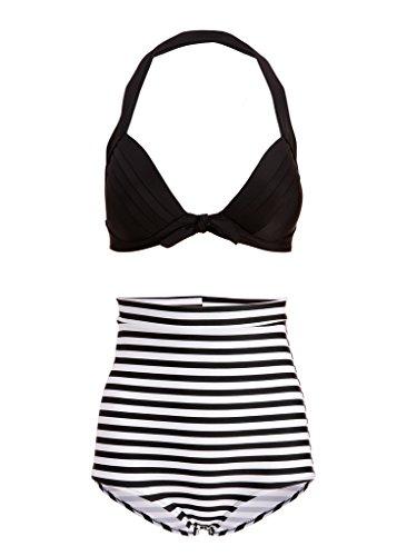 Hawaï 0199795Mujer Retro Pinup Vintage Bikini con alta cintura y pa
