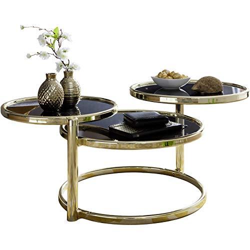 FineBuy Couchtisch SINA mit 3 Tischplatten Schwarz/Gold 58 x 43 x 58 cm | Beistelltisch Rund | Design Wohnzimmertisch Glas/Metall | Designer Glastisch Sofatisch modern | Kleiner Loungetisch