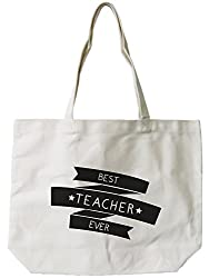 Womens Canvas Bag- Natural Canvas Tote Bag by -Best Teacher Ever