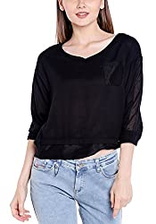 Spykar Womens Cotton Black Regular Fit Tops (Medium)