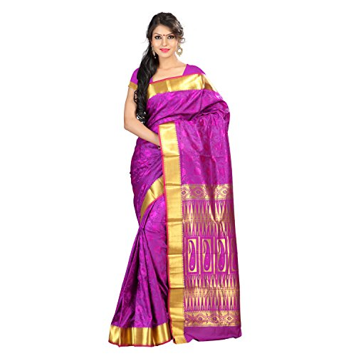 Varkala Silk Sarees Women's Art Silk Kanchipuram Saree With Blouse Piece(JP8109PV_Purple_Free Size)