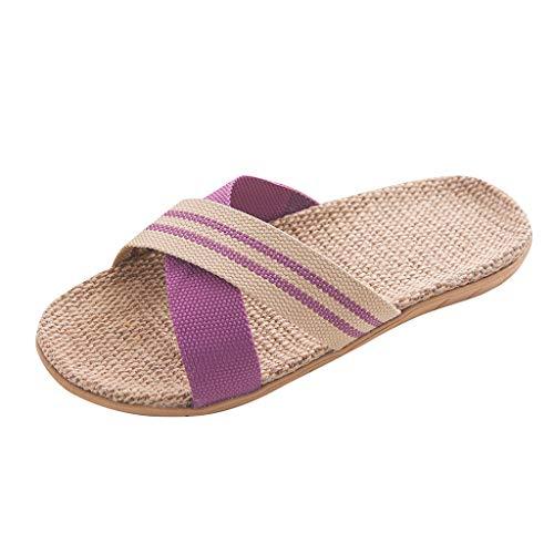 Hupoop Damenmode Anti Rutsch Leinen Home Indoor Freizeit Open Toe Flache Schuhe Strand Hausschuhe (Lila, 35) - Leinwand Open Toe