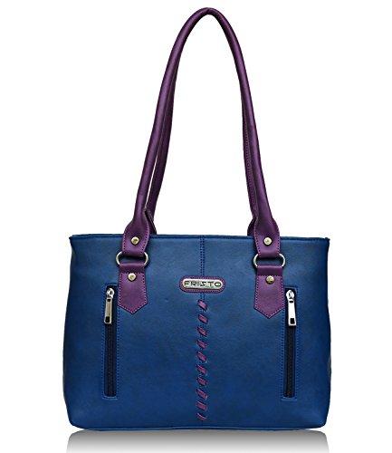 Fristo Two Zips Women's Handbag (Blue And Purple)