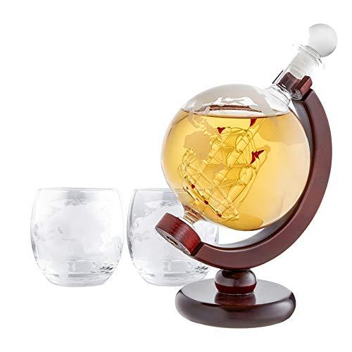 AMAVEL Whiskyset - Karaffe Globus - Zwei Design Whiskygläser - Dekanter mit luftdichtem Verschluss...