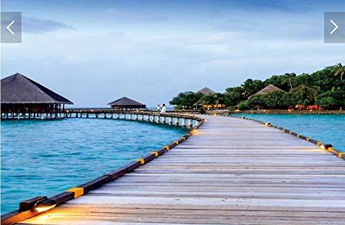 Preisvergleich Produktbild ZAMLE Malediven Meer Landschaft wandbilder Wallpaper für Wohnzimmer tv Hintergrund wanddekor Regen Wald tapeten,  200x140 cm (78.7 by 55.1 in)