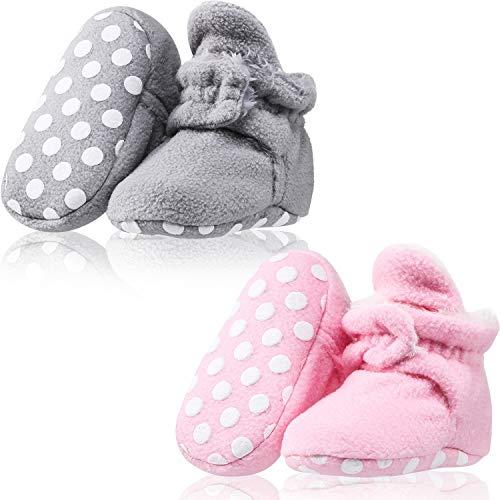 SATINIOR 2 Paar Baby Fleece Booties Bleiben auf Slipper Socke Krippe Schuhe mit Rutschfesten Boden (Baumwoll Stil mit Plüschfutter) -