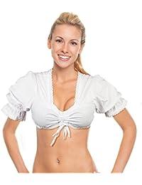 Oramics Dirndlbluse in Weiß, Trachtenbluse für Damen, Dirndl Bluse mit Spitze für Trachtenmode