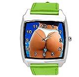 Taport, orologio quadrato al quarzo con cinturino in vera pelle verde