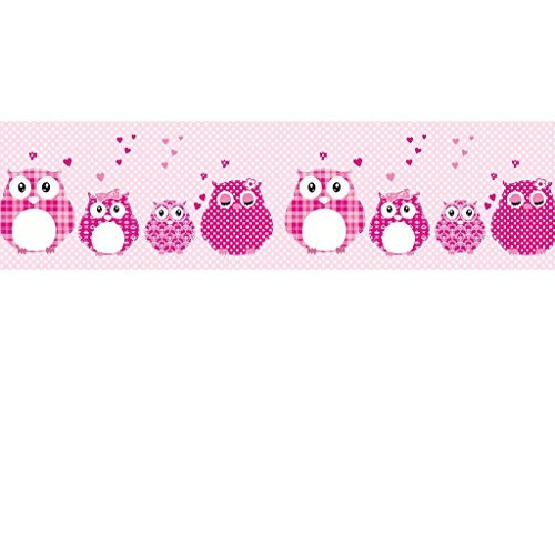 Vlies Bordüre selbstklebend fürs Kinderzimmer Wandtattoo Patchworkeulen pink