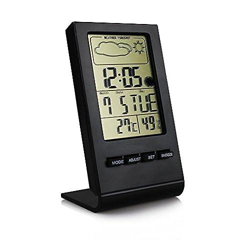 Thermomètre et hygromètre numérique sans fil Home Station météo Grand écran LCD écran de température humidité Mètre calibre Calendrier Alarme Horloge Rappel d'alarme