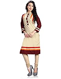 CREAM PLAIN COTTON LONG KURTIS(Kurtis For Women Latest Party Wear Design Today Offers Buy Online For Low Price...