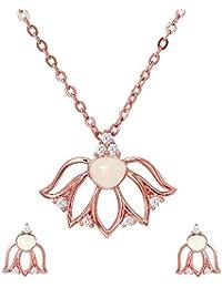 Mahi CZ White Lotus Flower Rose Gold Plated Pendant Set For Women NL1103667ZWhi