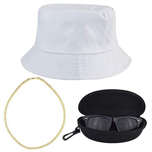 Kostüm Zebra Kit - heliltd 3Pcs Hip Hop Kostüm Kits, 80er / 90er Jahre Cool Rapper Outfits Bucket Hat Sonnenbrille Vergoldete Kette