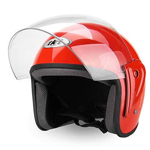 Wooya Demi Face Ouverte Abs Moto Casque Réglable Respirant Protections Unisexe-Rouge Orang