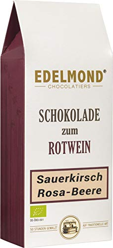 Schokolade zum Rotwein. Sauerkirsche & Rosa Beere von Edelmond. Einzelne Stücke, extra zum Rotwein gemacht. 125 g